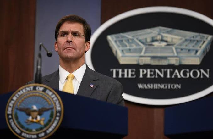 Mark Esper during the press conference on August 28, 2019