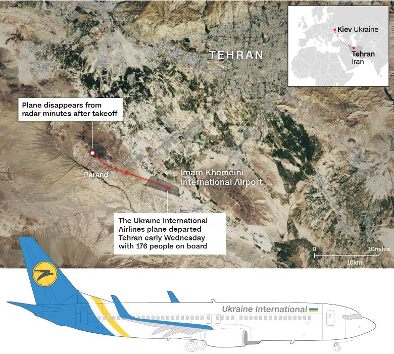 plane crash location near Tehran